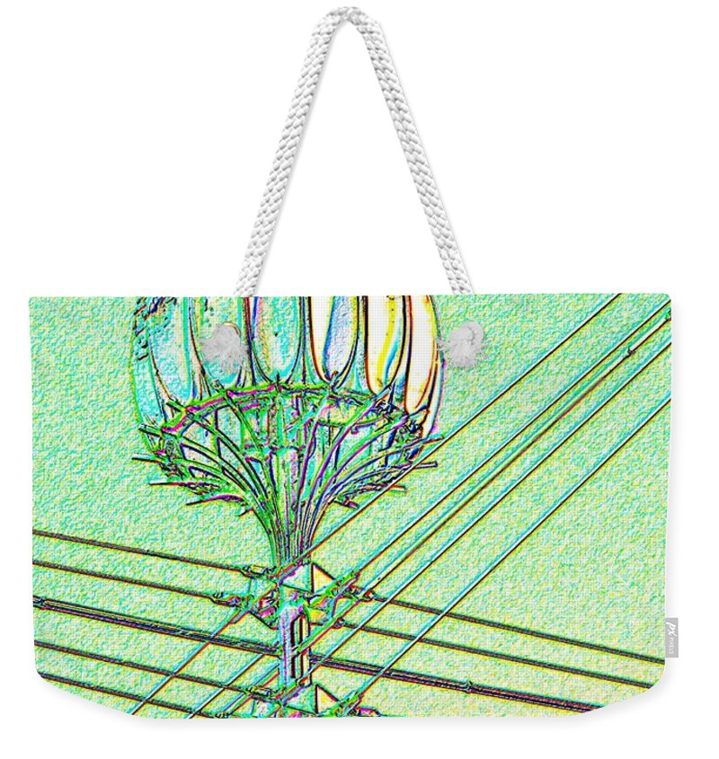 Seattle Weekender Tote Bag featuring the digital art Pacific Science Center Lamp by Tim Allen