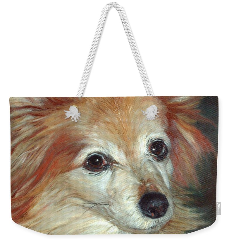 Pet Portraits Weekender Tote Bag featuring the painting Paco The Papillion by Portraits By NC