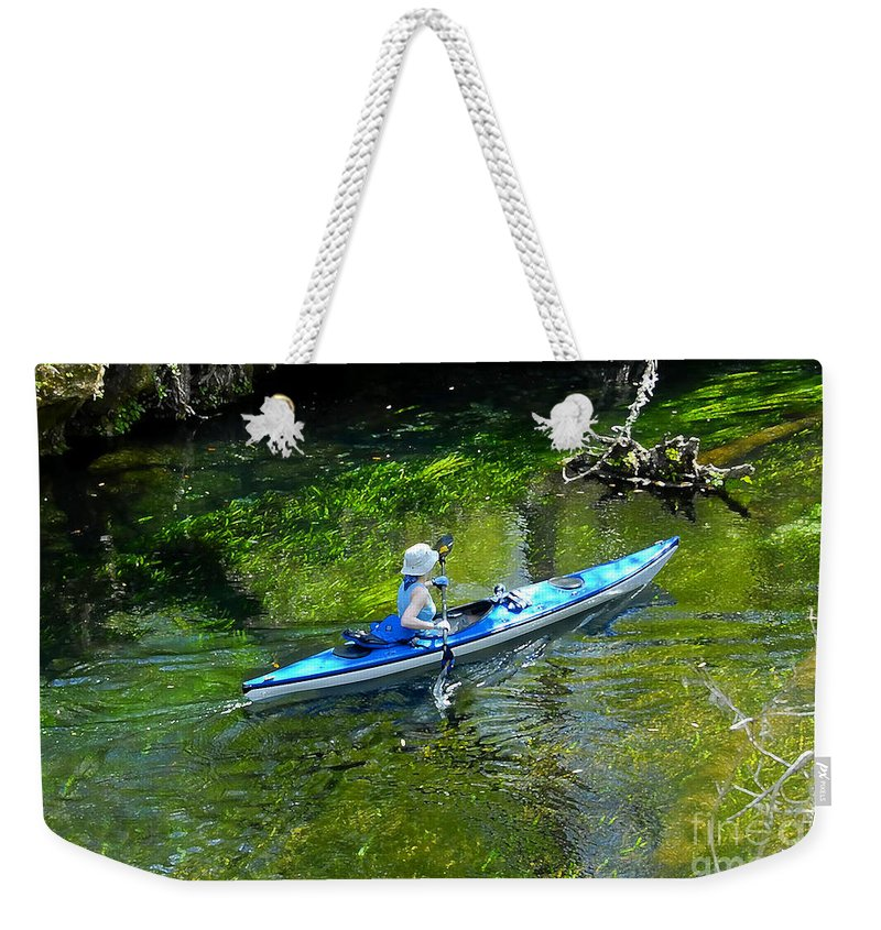 Ichetucknee Springs Weekender Tote Bag featuring the photograph Paddling The Ichetucknee by David Lee Thompson