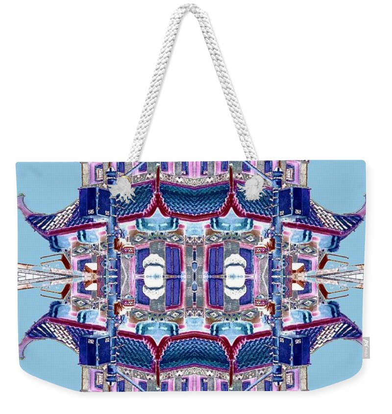 China Town Weekender Tote Bag featuring the photograph Pagoda Tower Becomes Chinese Lantern 2 Chinatown Chicago by Marianne Dow