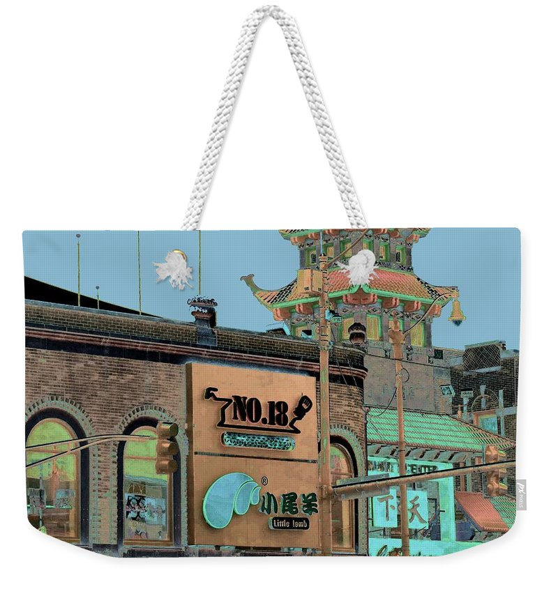 China Town Weekender Tote Bag featuring the photograph Pagoda Tower Chinatown Chicago by Marianne Dow