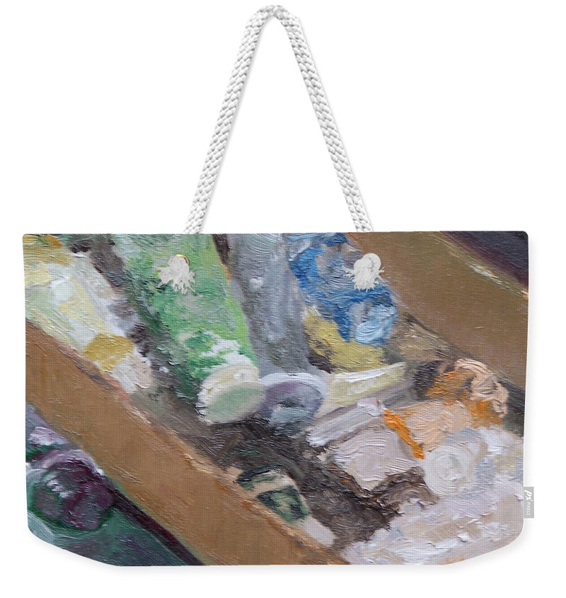 Paint Tubes Weekender Tote Bag featuring the painting Paint Box by Alicia Drakiotes