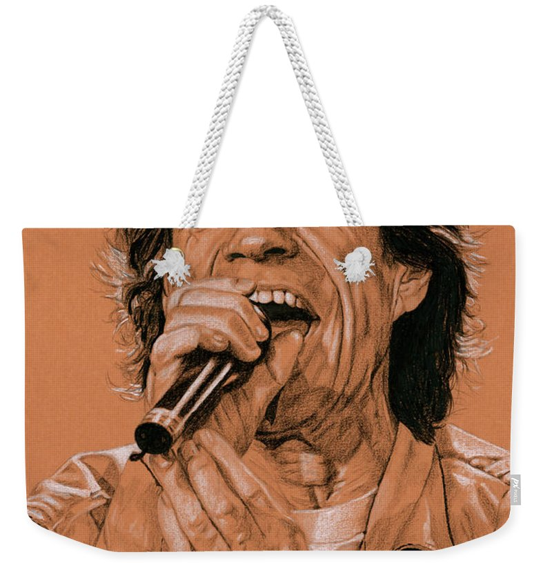 Mick Jagger Weekender Tote Bag featuring the drawing Paint It Black by Rob De Vries