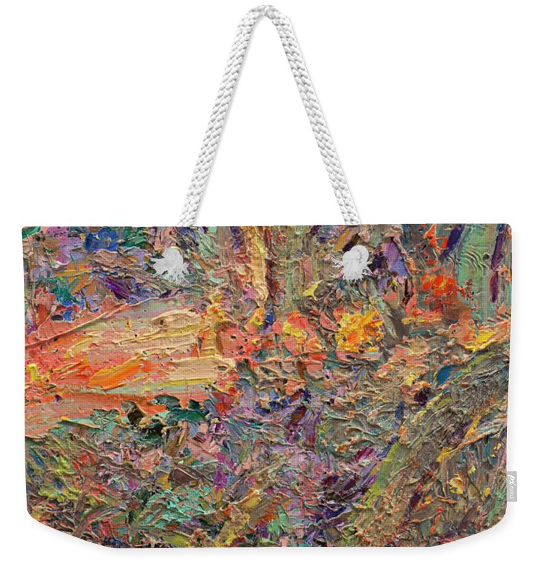 Abstract Weekender Tote Bag featuring the painting Paint number 34 by James W Johnson