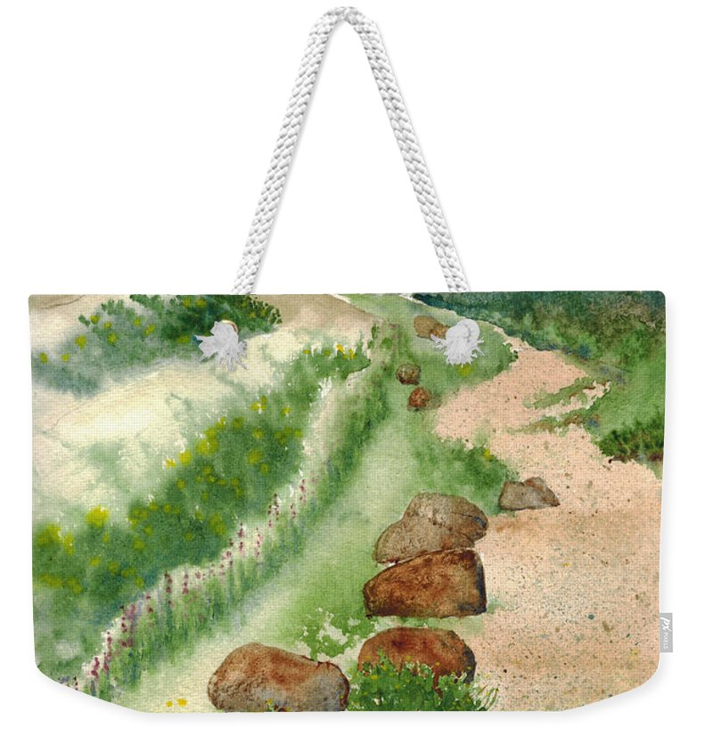 Landscape Weekender Tote Bag featuring the painting Paintbrush Trail by Janice Sobien