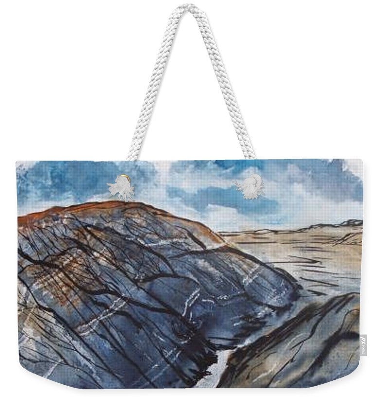 Plein Air Weekender Tote Bag featuring the painting Painted Desert landscape mountain desert fine art by Derek Mccrea