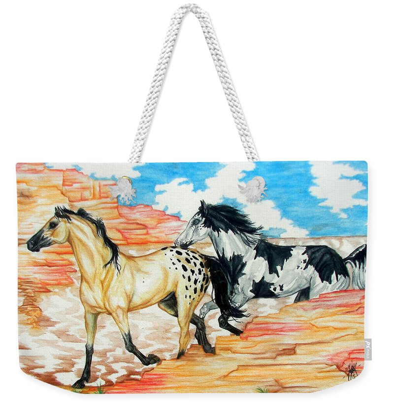 Horse Weekender Tote Bag featuring the painting Painted Desert by Monica Turner
