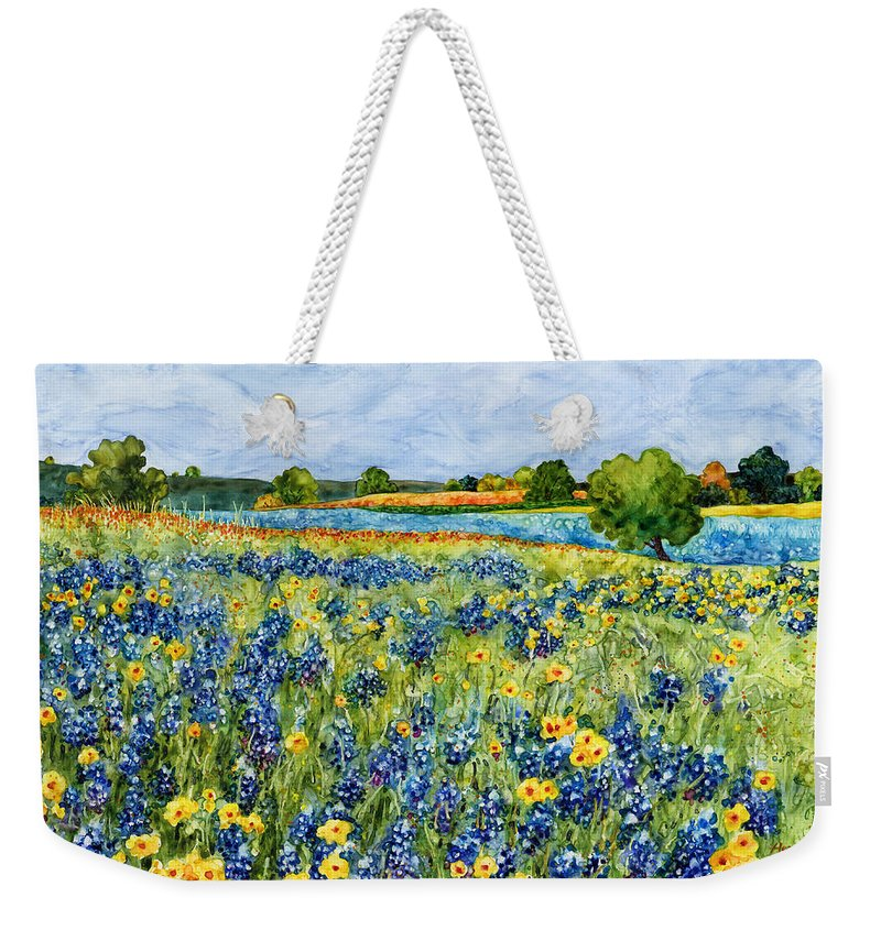 Bluebonnet Weekender Tote Bag featuring the painting Painted Hills by Hailey E Herrera