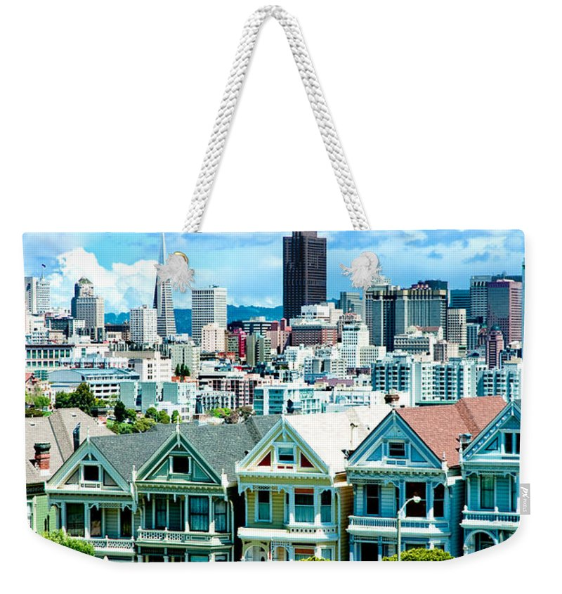 San Francisco Weekender Tote Bag featuring the photograph Painted Ladies by Greg Fortier