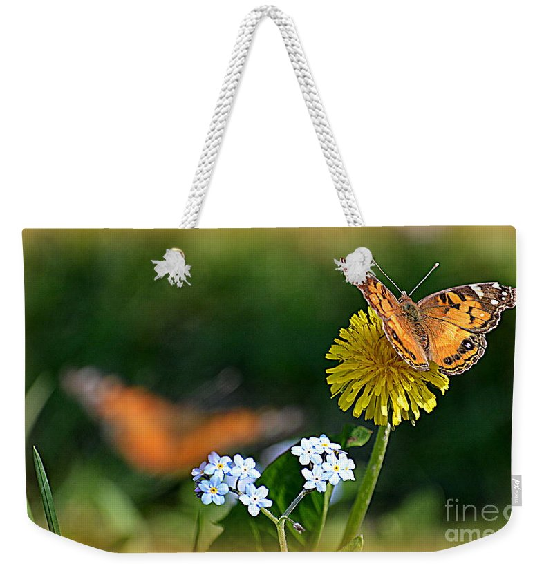 Painted Weekender Tote Bag featuring the photograph Painted Lady by Jaunine Roberts
