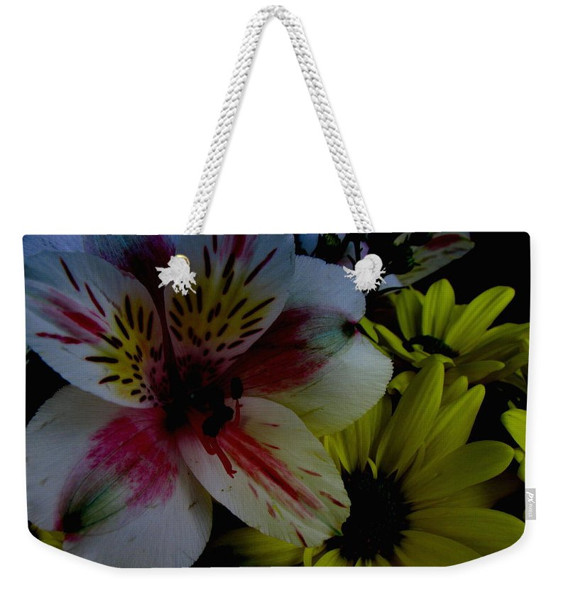Art For The Wall...patzer Photography Weekender Tote Bag featuring the photograph Painted Lily by Greg Patzer