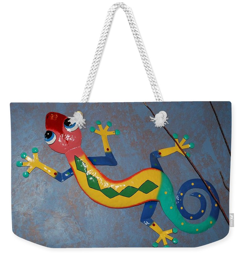 Pop Art Weekender Tote Bag featuring the photograph Painted Lizard by Rob Hans