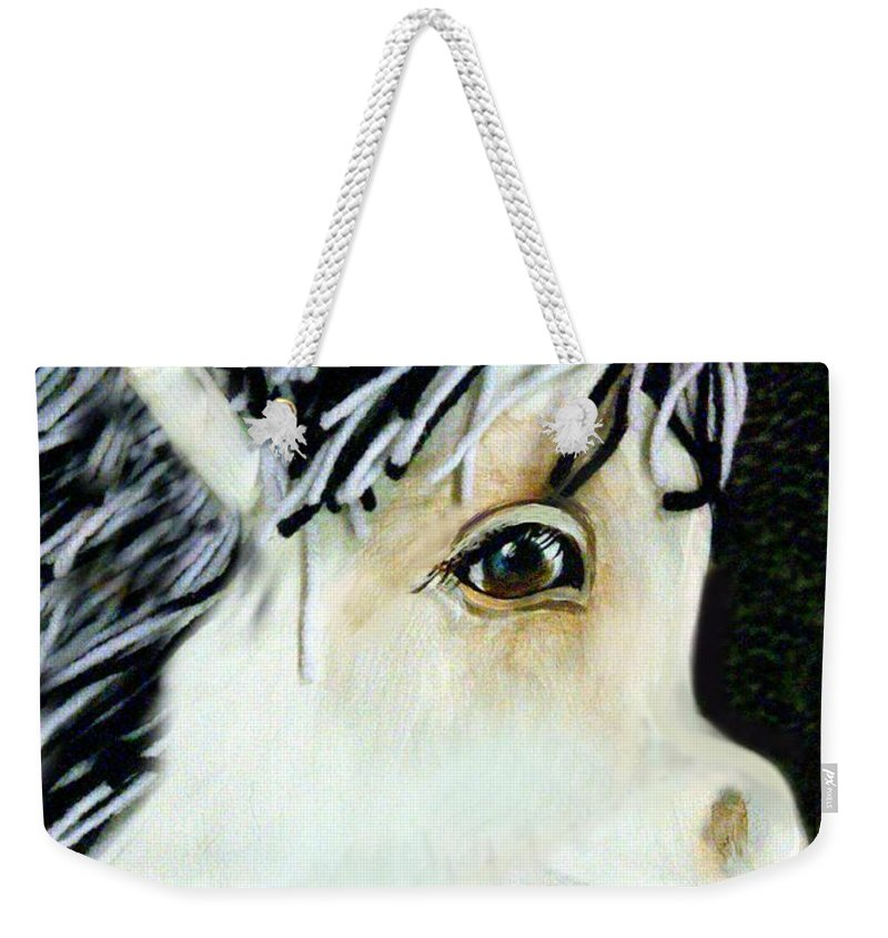 Pony Weekender Tote Bag featuring the digital art Painted Pony by Faye English