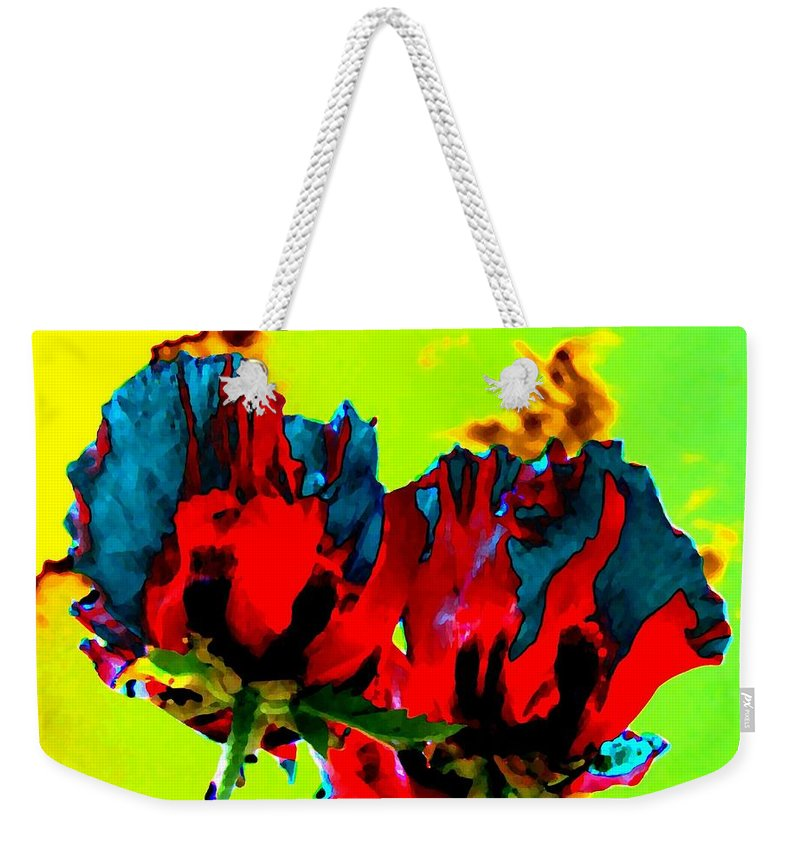 Poppies Weekender Tote Bag featuring the digital art Painted Poppies by Will Borden