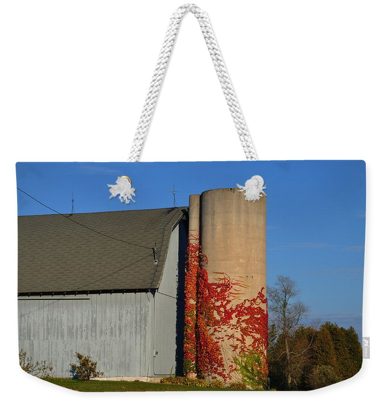 Fall Weekender Tote Bag featuring the photograph Painted Silo by Tim Nyberg