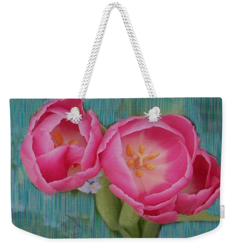 Flowers Weekender Tote Bag featuring the photograph Painted Tulips by Linda Sannuti