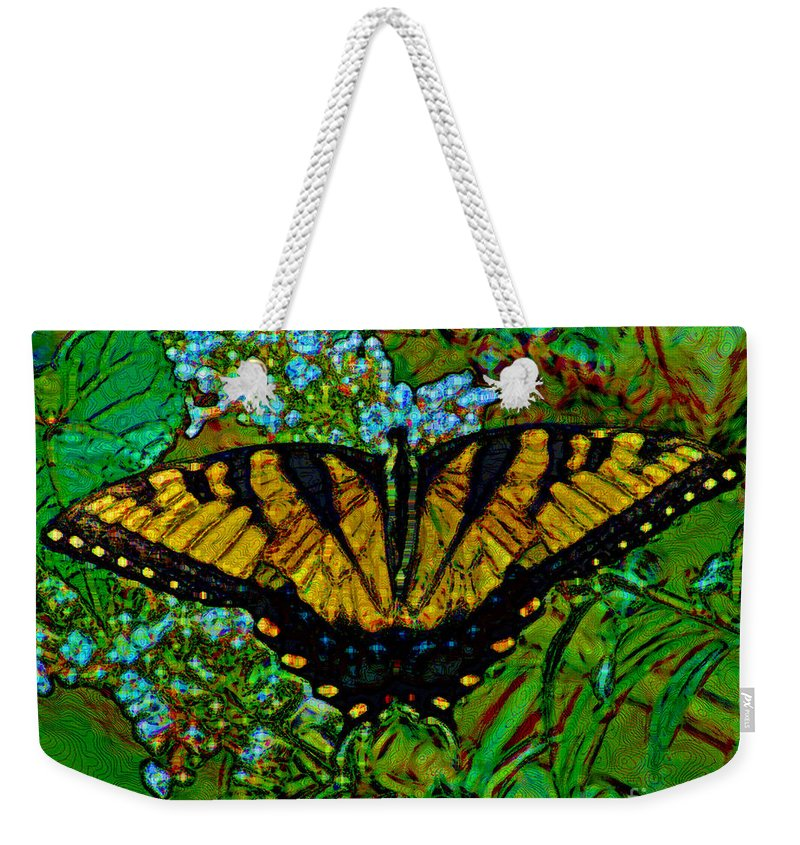 Yellow Weekender Tote Bag featuring the photograph Painted Yellow Swallowtail by Stephen Whalen