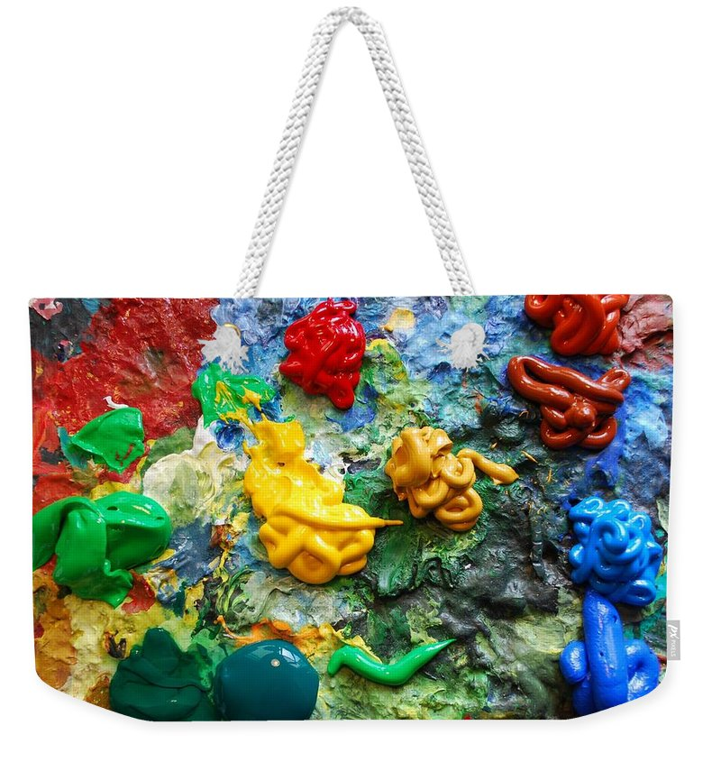 Palette Weekender Tote Bag featuring the photograph Painters Palette by Nancy Mueller
