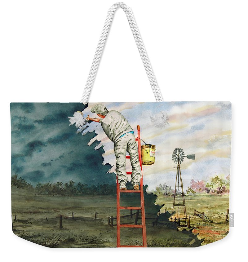 Landscape Weekender Tote Bag featuring the painting Paintin Up A Storm by Sam Sidders