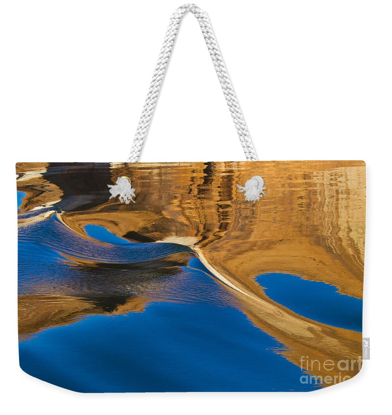 Lake Powell; Utah; Water; Canyon; Blue; Gold; Reflection Weekender Tote Bag featuring the photograph Painting On Water by Kathy McClure