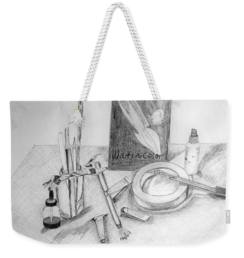 Pencil Weekender Tote Bag featuring the drawing Painting Supplies by Jamie Frier