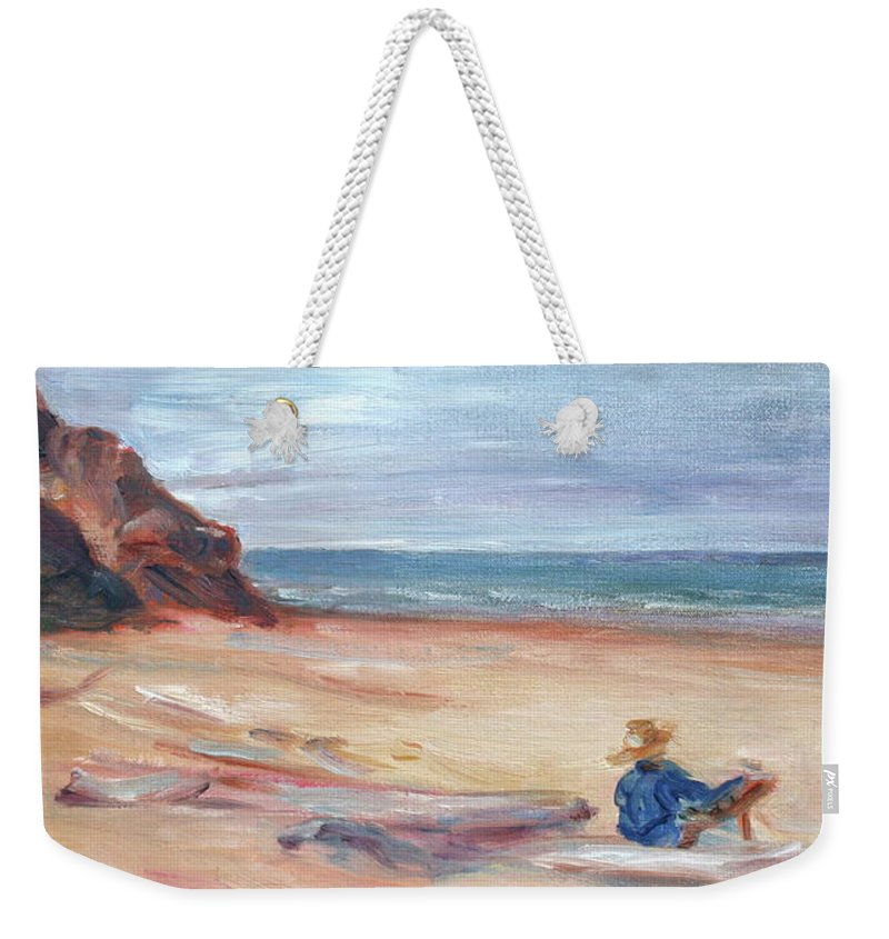 Impressionism Weekender Tote Bag featuring the painting Painting The Coast - Scenic Landscape With Figure by Quin Sweetman