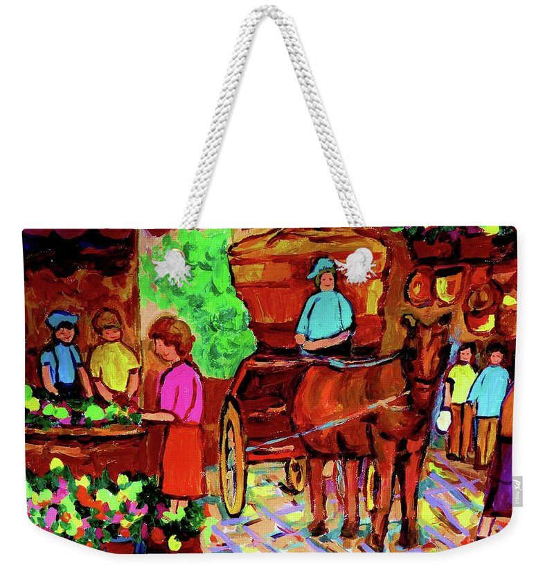 Montreal Weekender Tote Bag featuring the painting Paintings Of Montreal Streets Old Montreal With Flower Cart And Caleche By Artist Carole Spandau by Carole Spandau