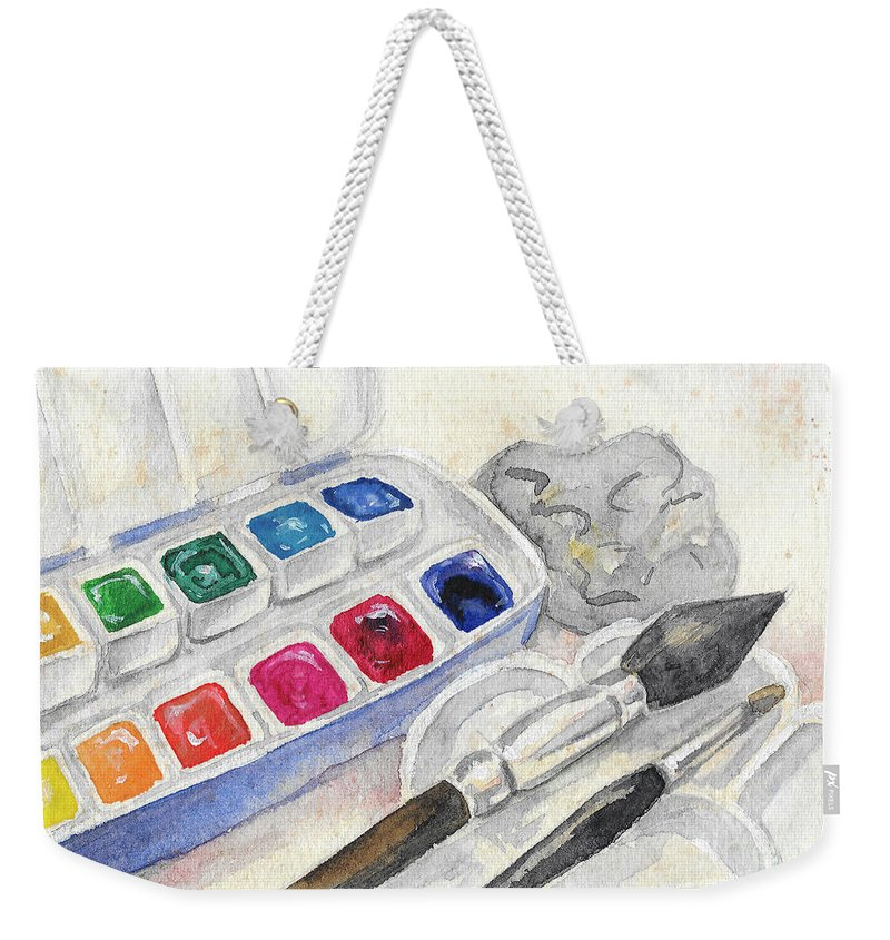 Paints Weekender Tote Bag featuring the painting Paints by Yana Sadykova