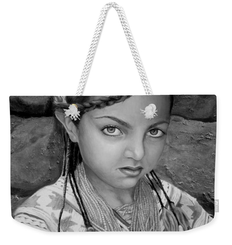 People Portraits Weekender Tote Bag featuring the painting Pakistani Girl by Portraits By NC