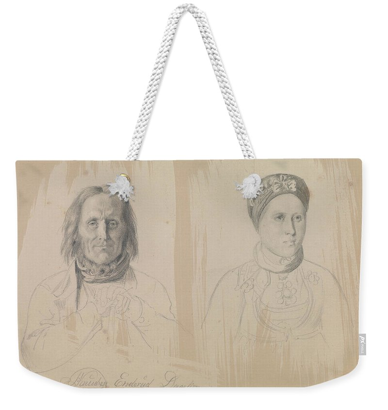 Norwegian Art Weekender Tote Bag featuring the drawing Pal Knutsen Enderud, Uvdal And Woman by Adolph Tidemand