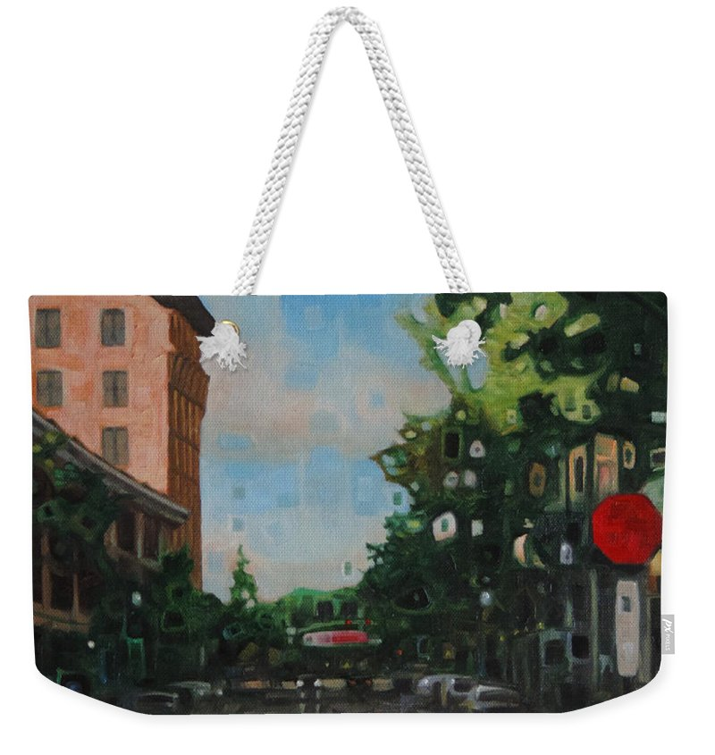 Oil Painting Landscape Street Scene Downtown Pensacola Florida Evening Sunset Modern Contemporary Fine Art Weekender Tote Bag featuring the painting Palafox Street Downtown Pensacola by T S Carson