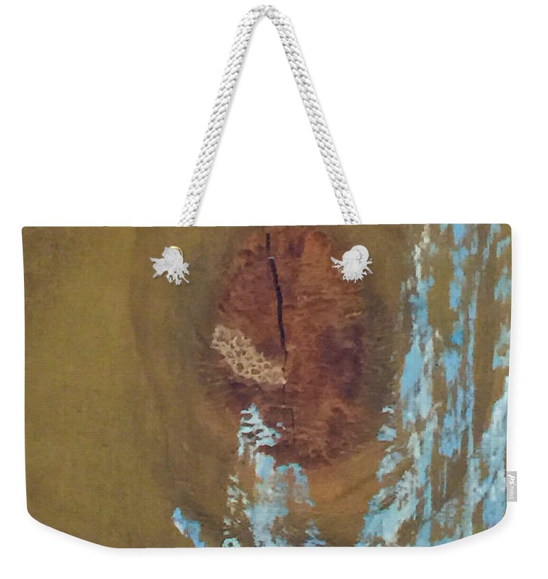 Tamara Kulish Weekender Tote Bag featuring the photograph Pale Blue Chalk On Wood by Tamara Kulish