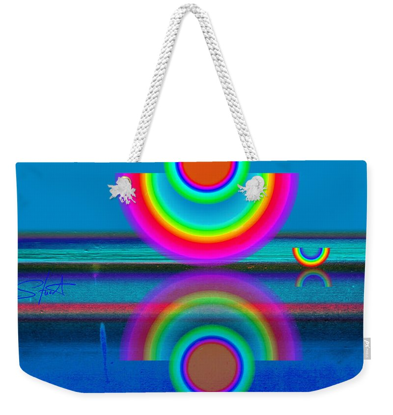 Reflections Weekender Tote Bag featuring the painting Pale Blue Reflections by Charles Stuart