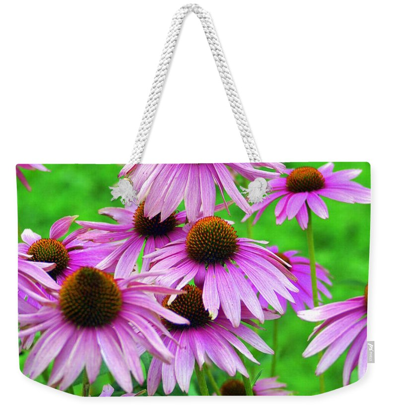 Flowers Weekender Tote Bag featuring the photograph Pale Purple Coneflowers by Marty Koch