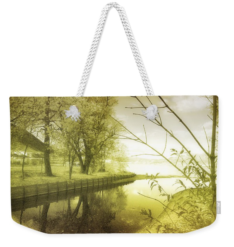 River Weekender Tote Bag featuring the photograph Pale Reflections Of Life by Tara Turner