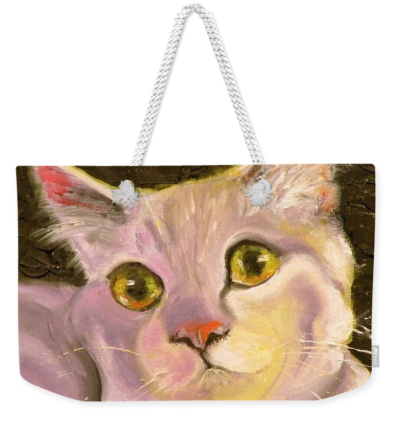 Cat Weekender Tote Bag featuring the painting Best Friend by Susan A Becker