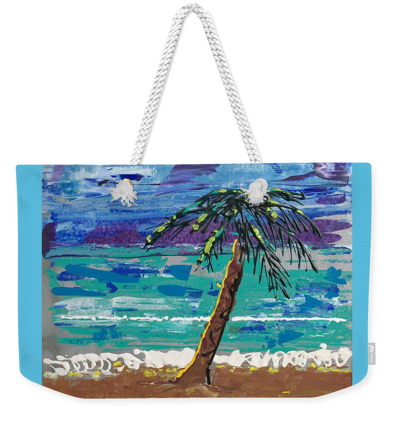 Palm Tree Weekender Tote Bag featuring the painting Palm Beach by J R Seymour