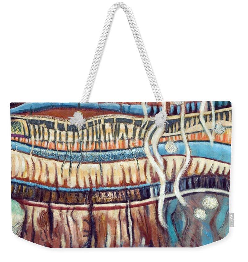 Abstract Weekender Tote Bag featuring the painting Palm Contractions by Kerryn Madsen-Pietsch