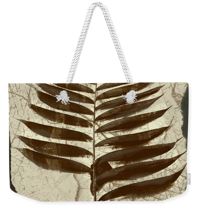 Photograph Weekender Tote Bag featuring the digital art Palm Fossil Sandstone by Delynn Addams