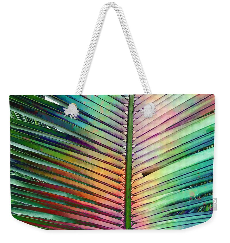 Palm Weekender Tote Bag featuring the mixed media Palm Leaf Art by Stacey Chiew