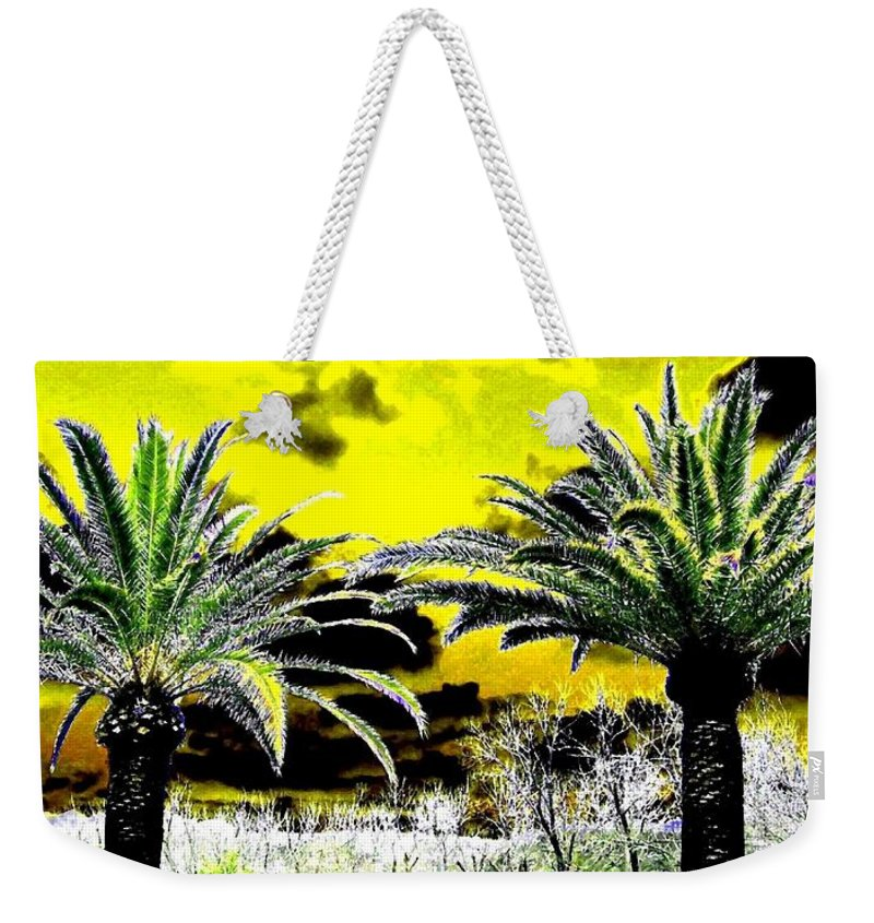 Palm Trees Weekender Tote Bag featuring the digital art Palm Paradise  by Will Borden