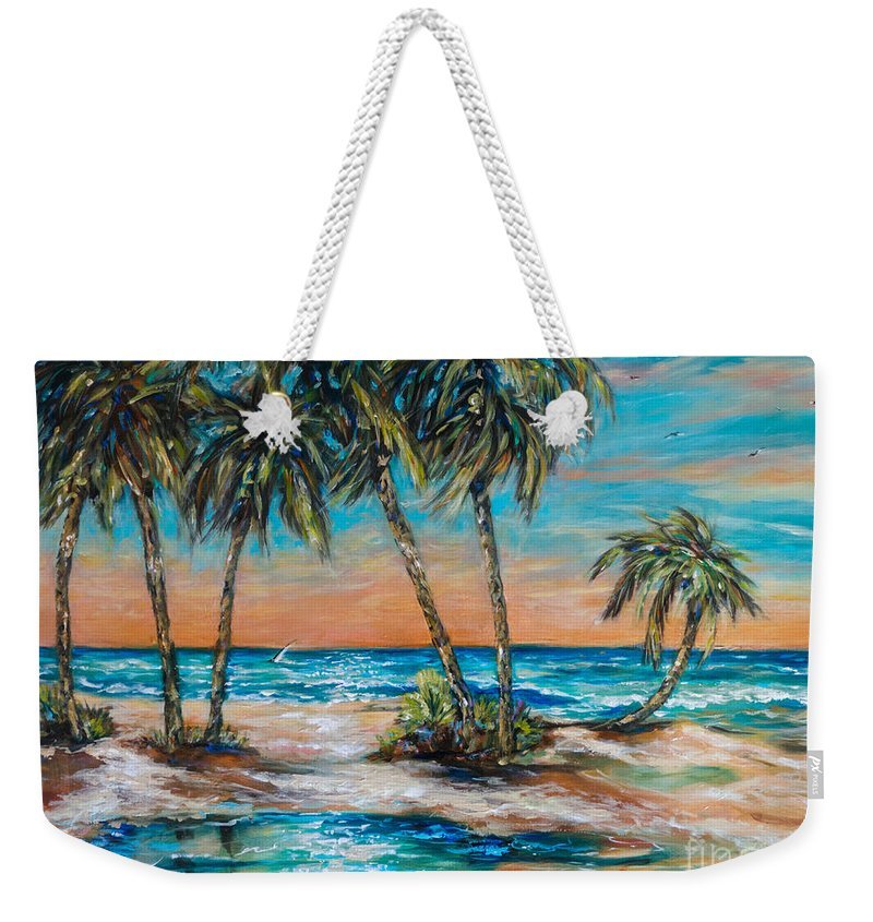 Palms Weekender Tote Bag featuring the painting Palm Reflection Lagoon by Linda Olsen