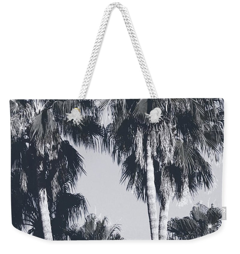 Palm Trees Weekender Tote Bag featuring the mixed media Palm Springs Palm Trees- Art by Linda Woods by Linda Woods