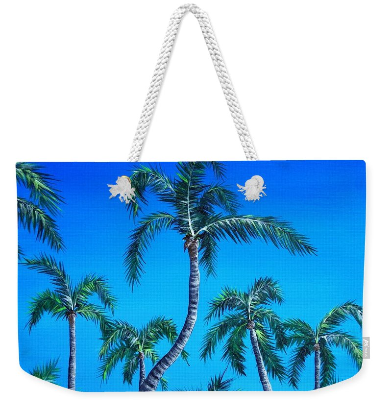 Palm Weekender Tote Bag featuring the painting Palm Tops by Anastasiya Malakhova