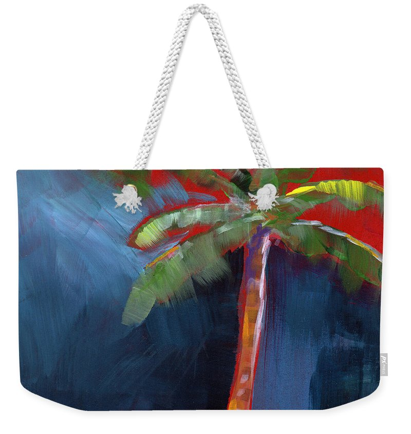 Palm Tree Weekender Tote Bag featuring the painting Palm Tree- Art by Linda Woods by Linda Woods