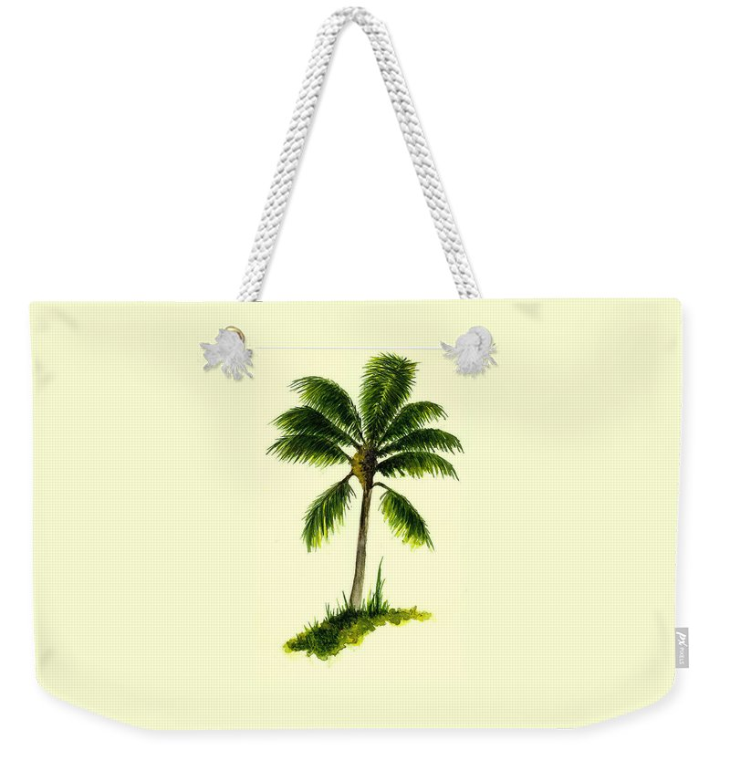 Tree Weekender Tote Bag featuring the painting Palm Tree Number 1 by Michael Vigliotti