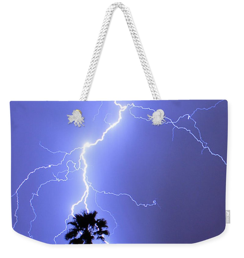 Lightning Weekender Tote Bag featuring the photograph Palm Tree On Strike by James BO Insogna