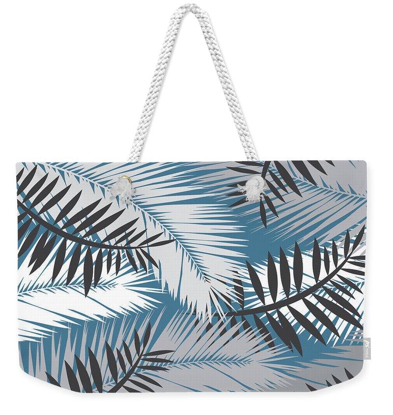 Summer Weekender Tote Bag featuring the digital art Palm Trees 10 by Mark Ashkenazi