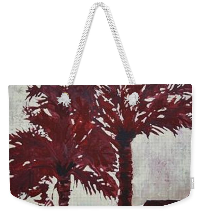 Palm Trees Weekender Tote Bag featuring the painting Palm Trees Acrylic Modern Art Painting by Derek Mccrea