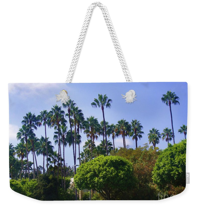 Blue Sky Weekender Tote Bag featuring the photograph Palm Trees. My Beautiful California by Sofia Metal Queen